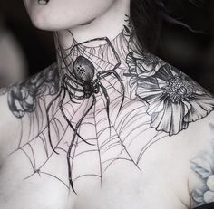 Spider & Web Neck Tattoo