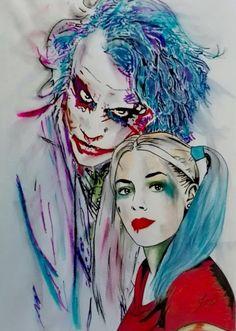 - drawing by jean marie vandaele - pop art, Harley Quinn Et Le Joker, Harley Quinn Tattoo, Harley Quinn Drawing, Harley Quinn Cosplay, Fan Art, Art Encadrée, Tattoo Shading, Art Sur Toile, Heath Ledger Joker