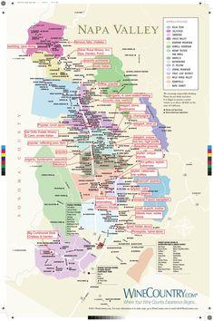 Napa Valley Winery Map- might be needing this very soon! California Wine, California Travel, Sonoma California, Visit California, Valley California, Nova Scotia, Napa Valley Wineries, Virginia Wineries, Napa Winery