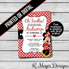 Printed or Digital File  Red Minnie Mouse by RMeyerDesigns on Etsy