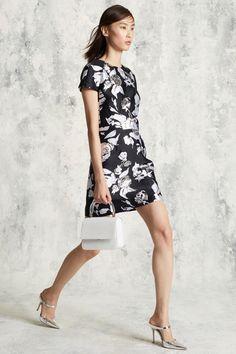 Michael Kors Collection | Pre-Fall 2016 | 33 Black/silver floral short sleeve mini dress