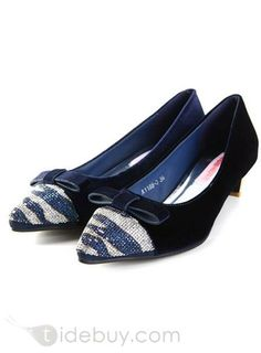 #All-matched #Pumps #Low Vogue Bow Knot All-matched Diamond Pointed Toe Low Heels Shoes