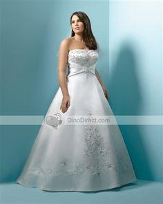 Satin Applique Beads Strapless Floor Length Plus Size Bridal Gown Wedding Dresses