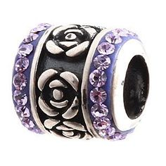 Everbling Rose Flower With Violet Austrian Crystal Authentic 925 Sterling Silver Bead Fits Pandora Chamilia Biagi Troll Charms Europen Style Bracelets  Price : $16.99 http://www.everblingjewelry.com/Everbling-Austrian-Authentic-Sterling-Bracelets/dp/B008SRNGVW