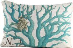 Blue Branch Coral I Pillow: Beach Decor, Coastal Home Decor, Nautical Decor, Tropical Island Decor & Beach Cottage Furnishings