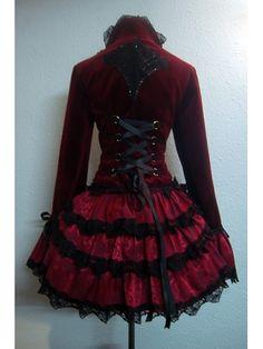 THE CRIMSON PETAL – Velvet Gothic Victorian Bustle Jacket Corset Baroque Couture