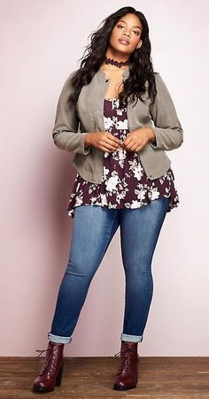 Plus size fall outfit - plus size fashion for women curvy girl fashion мо. Curvy Outfits, Mode Outfits, Fall Outfits, Fashion Outfits, Womens Fashion, Jeans Outfits, Fashion Ideas, Fashion Clothes, Outfits 2016