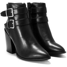 Nasty Gal Love Fool Vegan Leather Bootie (€60) ❤ liked on Polyvore featuring shoes, boots, ankle booties, booties, botas, zip ankle boots, pointy toe booties, buckle booties, faux leather ankle boots and ankle boots