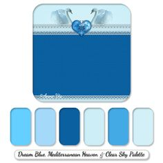 Romantic wedding line with swans - a dream blue, sky blue, baby blue with navy color palette