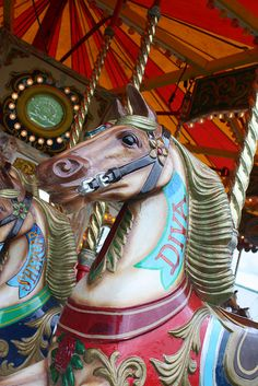 Diva the carousel horse    A vintage carousel horse in the traditional fairground at the 2011 Norfolk Show