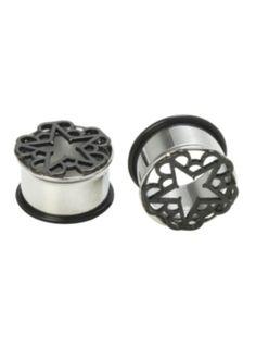 Steel Black Veil Brides Pentagram Eyelet Plug 2 Pack