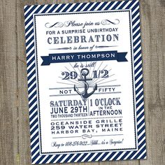Navy and White Nautical 50th Surprise Birthday Printable Party Invitation
