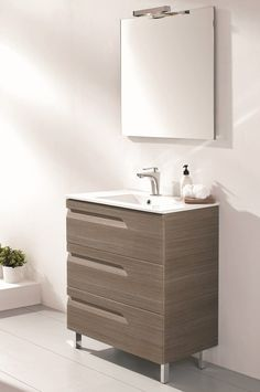 Accanto 24 Inch Modern Ash Single Sink Bathroom Vanity Integrated Sink
