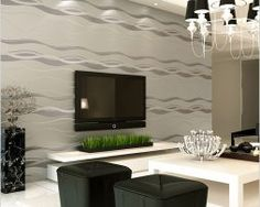 57 Sq Feet Roll Modern Simple Style Waves Lines Strips Silver & Grey Wallpaper Silver Grey Wallpaper, Striped Wallpaper, Waves Line, Romantic Homes, Living Room Tv, Decoration, Simple Style, Bedroom, Home Decor