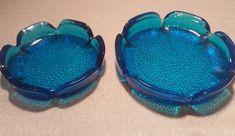 Excited to share the latest addition to my #etsy shop: Pair of Vintage Blenko Art Blue Glass Textured Pebbled Ashtrays 6 & 7.25 inches http://etsy.me/2HdzVHZ #housewares #homedecor #blue #living #blenko #glassashtrays #vintage #tobacciana #sapphire