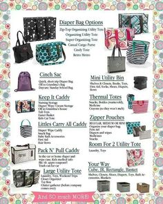 Thirty One Bag Options Thirty One Diaper Bags, Thirty One Baby, Thirty One Uses, Thirty One Gifts, Thirty One Organization, Organizing Utility Tote, Tote Organization, School Organization, 31 Party