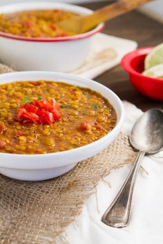 Indian Red Lentil Stew - A thick and hearty lentil stew that's low in fat and high in fiber, protein and iron. Made spicy with homemade masala and ready in under 30 minutes.