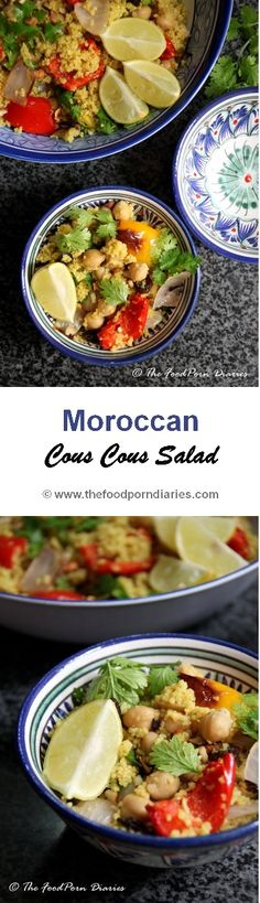 Moroccan Cous Cous Salad - for days when you want a salad but a substantial one! Canned chickpeas, easy serve couscous and dressing in a bottle. All it needs, is you popping the veggies in the oven for a quick roast.