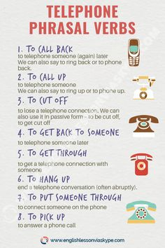 List of English Telephone Phrasal Verbs - Pick up the Phone - Daria Storozhilova Learn English Grammar, English Vocabulary Words, Learn English Words, English Phrases, English Idioms, English Language Learning, English Lessons, Teaching English, English English