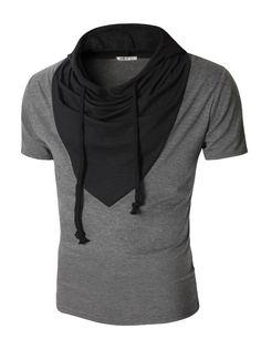 9414692807ab Amazon.com  Doublju Men s Short Sleeve T-Shirt with Unique Hood  Clothing