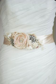 Take off the bling and add some GREEN:) Rustic Bridal sash Gold Brass Blush Champagne wedding by LeFlowers