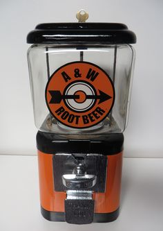 A&W Root Beer Gumball Machine. This vintage Oak Acorn gumball machine was restored and re-themed with the original A&W Root Beer logo. A&w Root Beer Float, All American Food, Mall Stores, Vintage Restaurant, Poster Prints, Posters, Soft Drink, Gumball Machine, Vending Machine