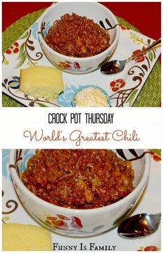 World's Greatest Crock Pot Chili  This is our all-time favorite chili, and we love that it's a slow cooker recipe!