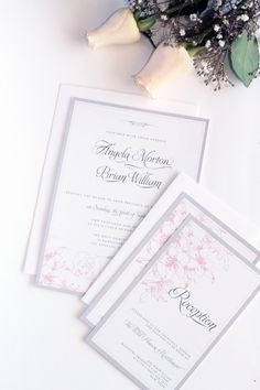 Pink and Grey Wedding Invitation, Printable or Printed - Your Choice, Elegant, Premium Cardboard, New by Paradise Invitations by ParadiseInvitations on Etsy