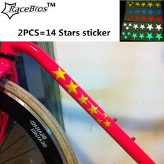 2PCS convenient Pentagramme MTB Road Bike Bicycle Auto Car Motorcycle Transfer Reflective 5 Stars Sticker Bike Stickers Decals