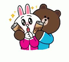 Brown & Cony's Snug Winter Date sticker Cute Couple Cartoon, Anime Love Couple, Cony Brown, Brown Bear, Winter Date, Love Heart Images, Good Night Gif, Cute Love Gif, Bunny And Bear