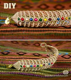 DIY Macrame Fishbone Bracelet with Beads, this one uses A LOT of string