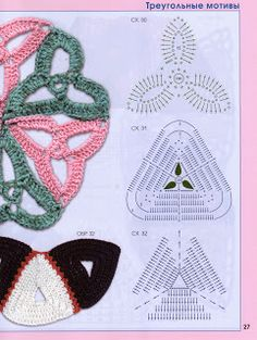 Crocheted motif no. Crochet Necklace Pattern, Crochet Motif Patterns, Form Crochet, Crochet Diagram, Crochet Chart, Crochet Stitches, Crochet Triangle, Crochet Squares, Crochet Doilies