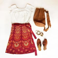Boho chic forever 70s ethnic wrap skirt M-L $26 50s-60s cotton lace top L $34 Leather bag $36 DM or comment with email and postal code to purchase.  #vintage #fashion #70s #60s #boho #bohochic #vintagefashion #shop #shopping #fall #fallfashion #style #vintagestyle