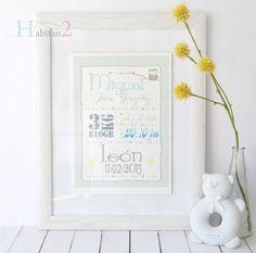 Láminas únicas que querrás que decoren tu casa , diseño de láminas de nacimiento personalizadas by Habitan2