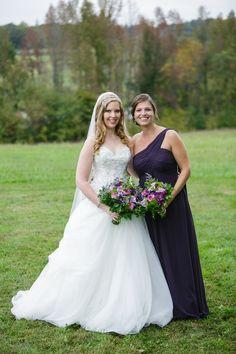 DeMuth-Eggleston Wedding Photo By Visions by Heather Allure 8901. Purple and green wedding. Bill Levkoff plum Grecian chiffon bridesmaid
