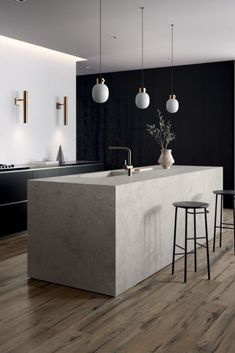 NORDIK WOOD is the wood-effect porcelain stoneware collection that interprets the original material with a surprising realism Minimal Kitchen Design, Minimalist Kitchen, Modern Interior Design, Interior Design Kitchen, Kitchen Colour Combination, Kitchen Wall Tiles, Cuisines Design, Beautiful Kitchens, Interiores Design