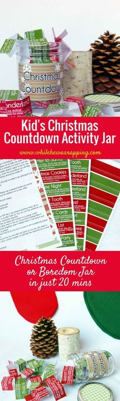 Countdown to Christmas with this fun activity jar. Use it as an advent calendar and choose one activity each day or use it as a boredom jar when the kids need a little more structure and you need a little less chaos. #christmas #kidsactivities #adventcalendar #printable #printableadvent #christmascountdown