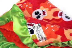 Minky Baby Blanket Orange and Pink Skulls by babyboos on Etsy, $45.00. WANT!!!! Aubrianna needs this!