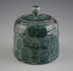 Green Glazed Ceramic Jar with Spots by TheCeramicsGallery