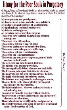 Catholic Litany for the Poor Souls in Purgatory Faith Prayer, God Prayer, Prayer Quotes, Faith Quotes, Catholic Beliefs, Catholic Quotes, Religious Quotes, Christianity, Catholic Traditions