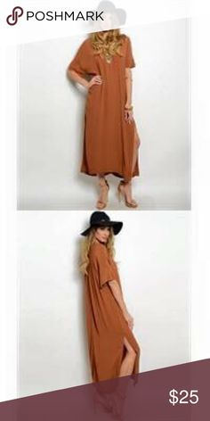 Copper Maxi Dress Love this dress... it has a relaxed fit and high slits on both sides... perfect Fall wardrobe update piece.  One size fits most S-L... nwot Dresses Maxi
