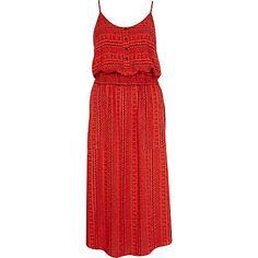 Red tribal print button through midi dress - midi dresses - dresses - women