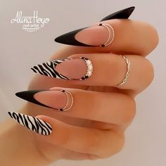 Glam Nails, Hot Nails, Stiletto Nails, Pink Nails, Zebra Print Nails, Zebra Stripe Nails, Black Acrylic Nails, Best Acrylic Nails, Trendy Nail Art