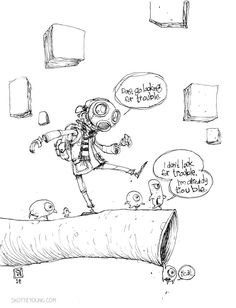 "skottie young inks | Skottie Young #DailySketch ""I'm already trouble."" #skottieyoung"