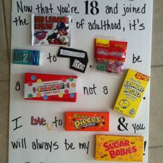 Candy Card Gifts For 18th Birthday Party Ideas Boys