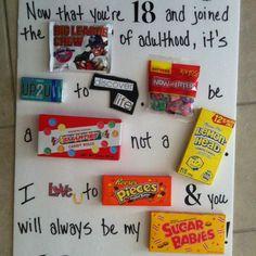 Candy Card Birthday Fun Ideas For 18th Boys Gifts