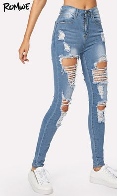 Ripped Bleach Wash Skinny Jeans Search ID:351045