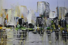 wall art cityscape abstractmulti colored Modern von xiangwuchen