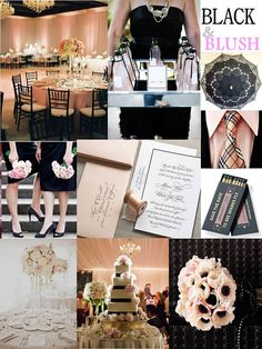 Black & Blush wedding inspiration...I like the idea of little black dresses because they wouldn't have to match and could easily be re worn. The blush keeps everything from being gothic...looks chic