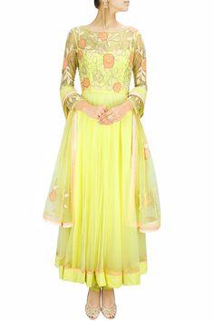 Lemon patchwork and cutdana embroidered anarkali set. BY SHEHLA KHAN. Shop now at: www.perniaspopups... #perniaspopupshop #designer #stunning #fashion #style #beautiful #happyshopping #love #updates